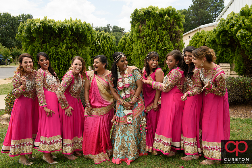 Bridesmaids laughing after the Indian wedding in Greenville,SC.