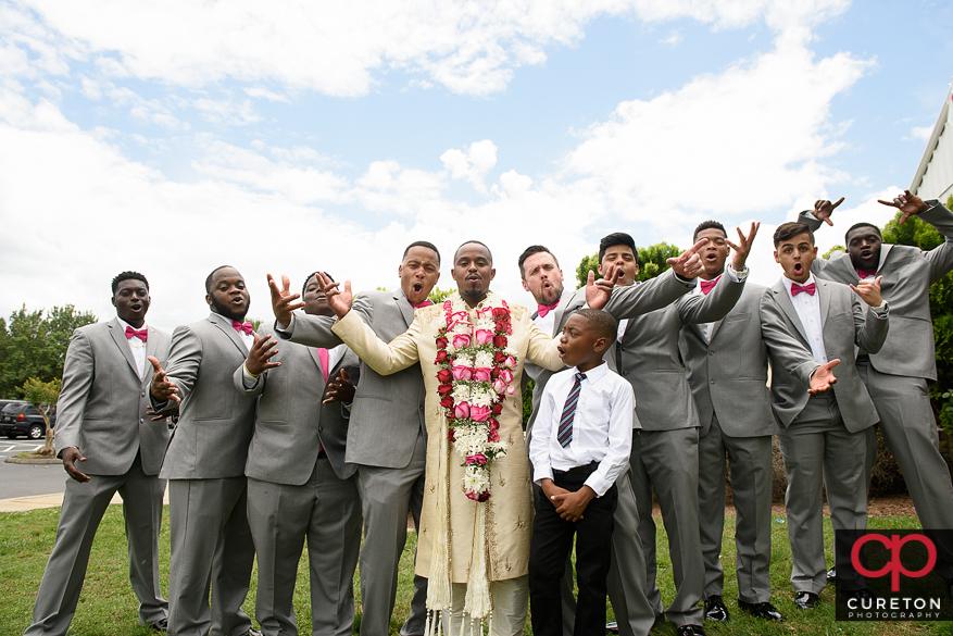 Cheering groomsmen.