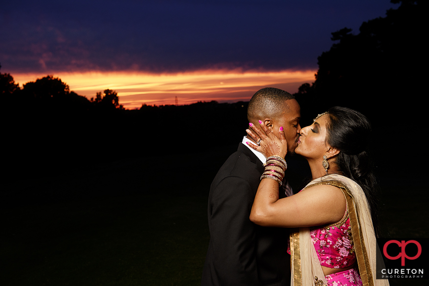 Indian Bride and Groom at sunset.