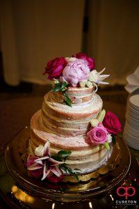 Wedding cake with flowers.