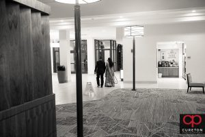 The bride and groom leaving their Indian wedding reception at Embassy Suites in Greenville,SC .