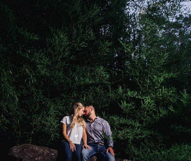Summer Engagement Session at The Rock Quarry Garden in Greenville,SC – Julie + Marty