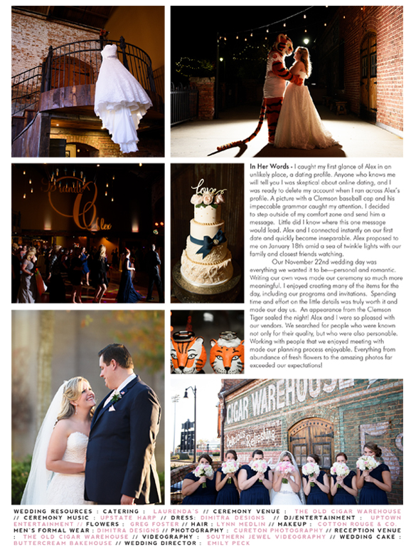 Old Cigar Warehouse wedding featured in the Greenville wedding magazine, Weddings with Style.