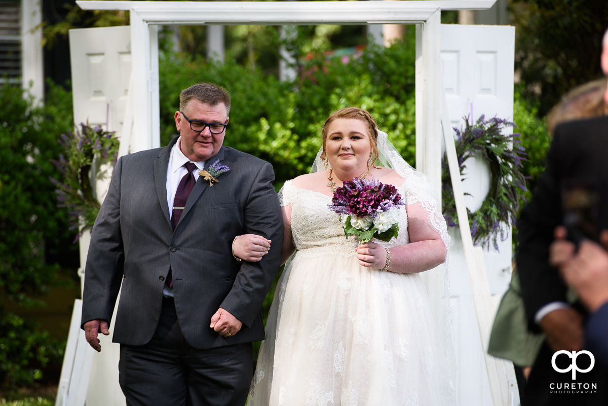 Bride walking down the aisle at the Grove at Pennington wedding.