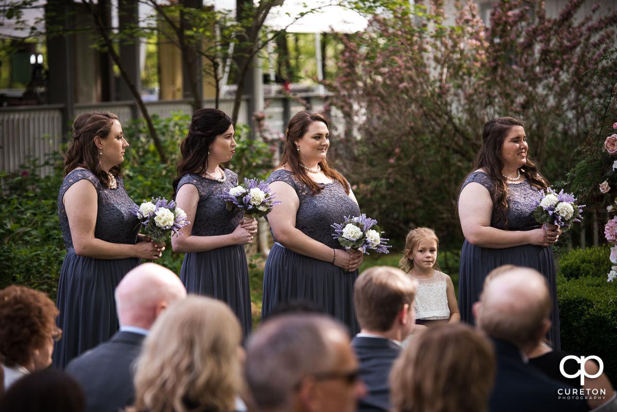 Bridesmaids at ehe ceremony.