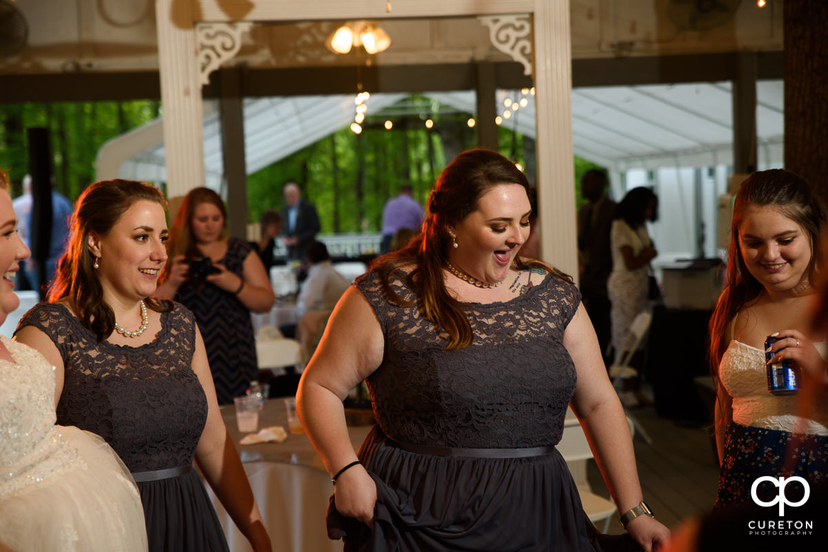 Wedding guests dancing after the Grove at Pennington wedding.