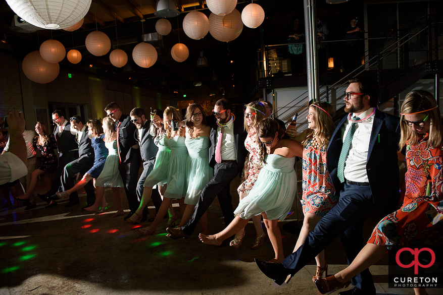 Wedding guests dancing to the sounds of the wedding band Java from Charlotte,NC.