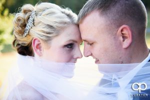 Close up of the bride and groom.