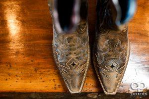 The bride's cowboy boots.