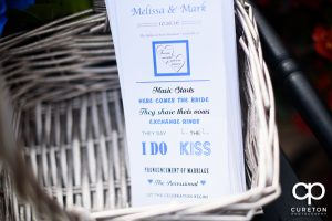 The bride and groom's program.