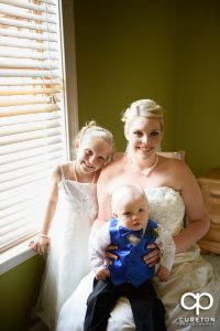 The bride and her kids before the wedding.