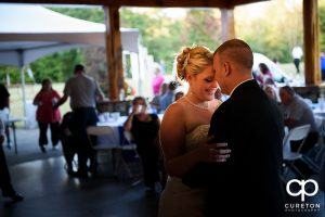 Bride and groom having a first dance.
