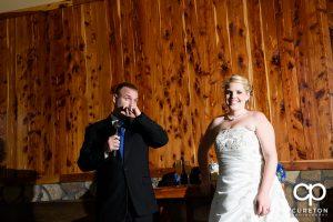 Groom welcoming the wedding guests.