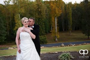 Bride and groom after their wedding at the Hollow at Paris mountain.