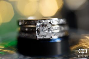 Close up of the wedding rings.