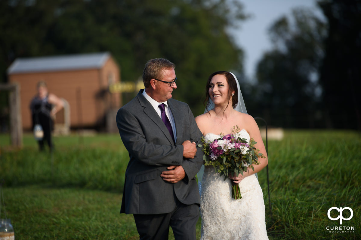 Bride and her father at the ceremony.