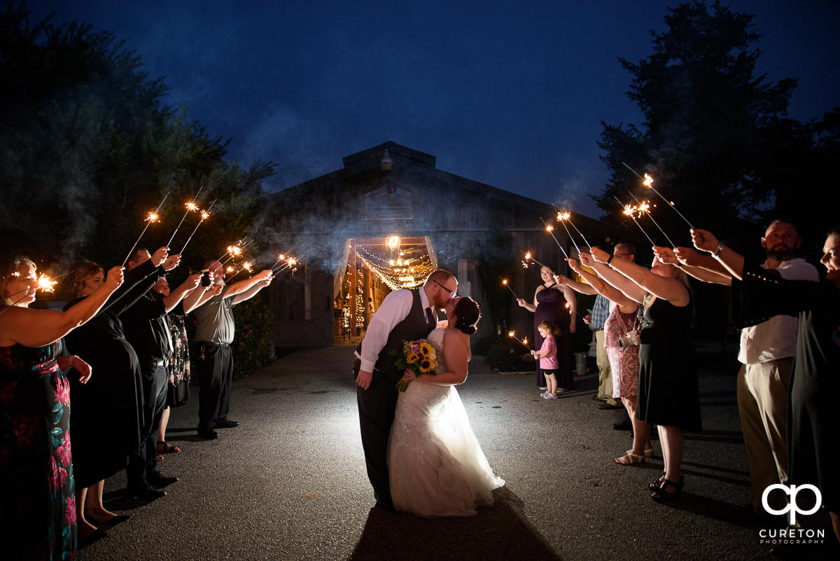 Sparkler exit at the Lindsey Plantation wedding reception.