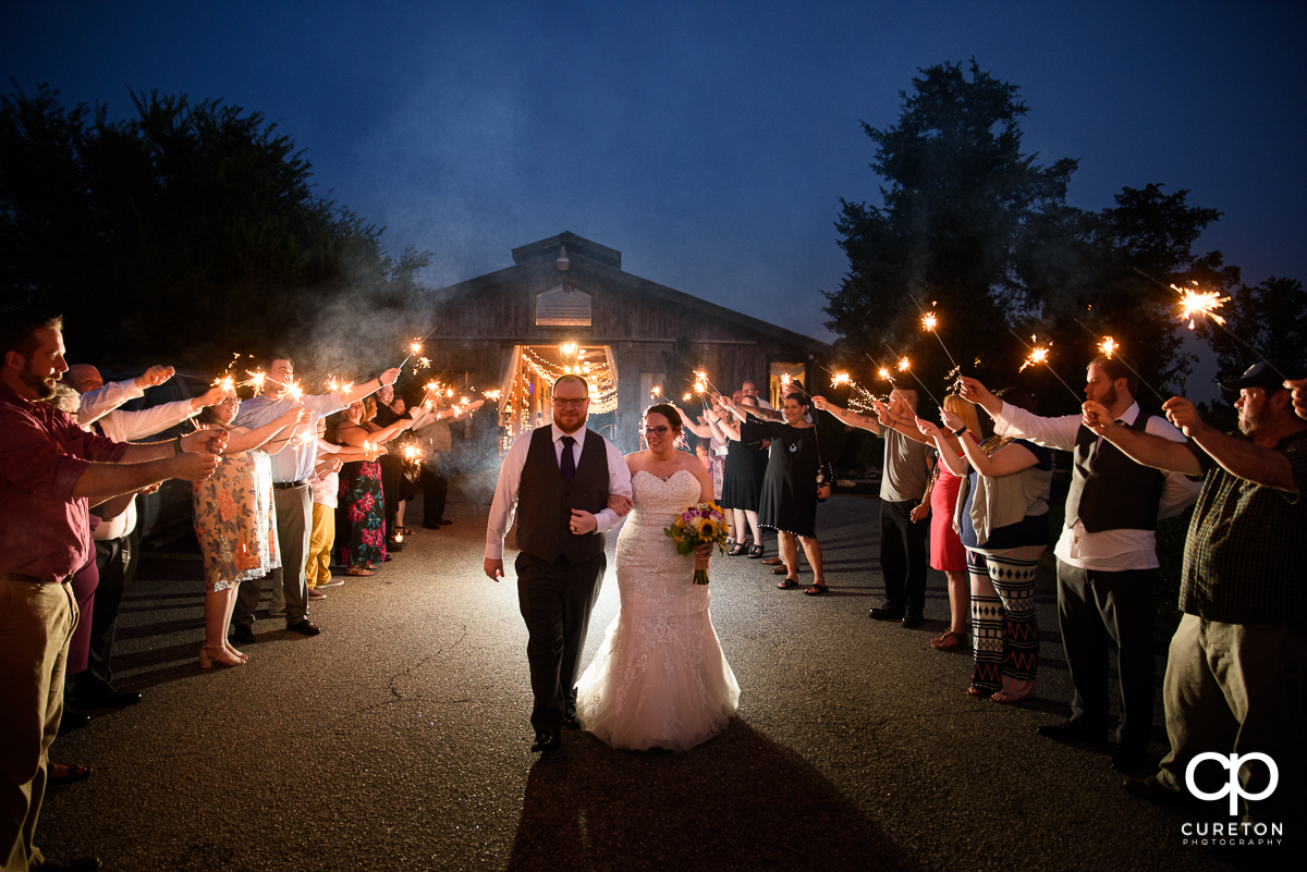 Sparkler grand exit at the Lindsey Plantation wedding reception.