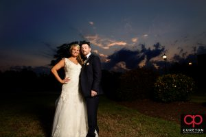 Married couple at sunset in SImpsonville,Sc.