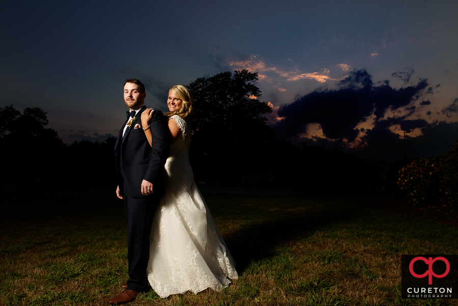 Bride and Groom after their wedding reception at the Loom.