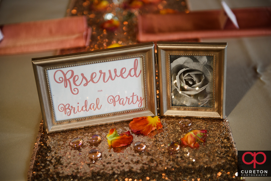 Reserved for bridal party sign.