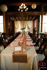 The wedding party table setup at The Loom.