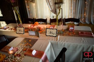 The bride and groom's table.