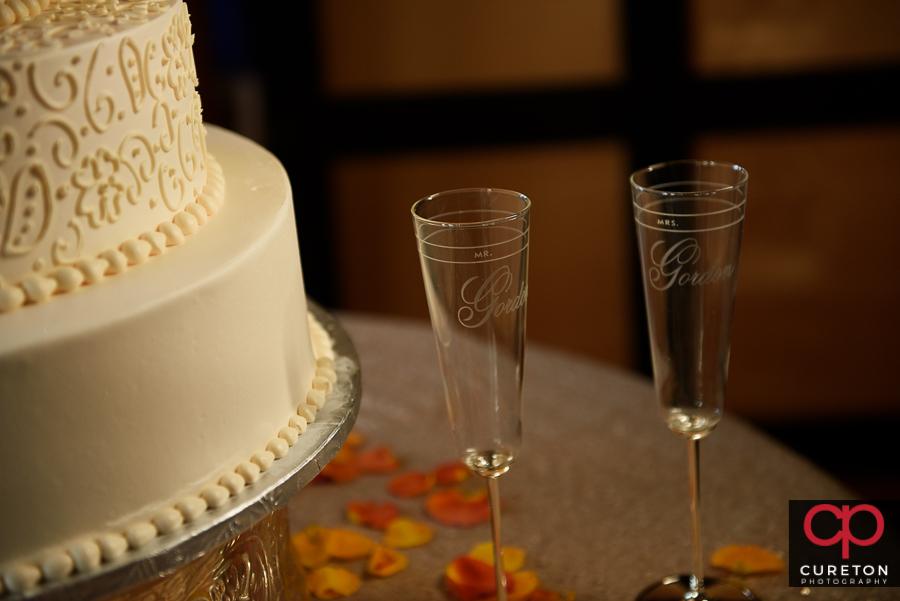 Bride and Groom's toast glasses.