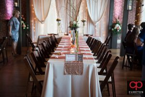 The wedding party table at The Loom at Cotton Mill Place.
