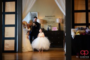 The flower girl getting introduced.