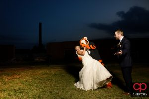 Clemson Tiger dancing with the bride at her wedding.