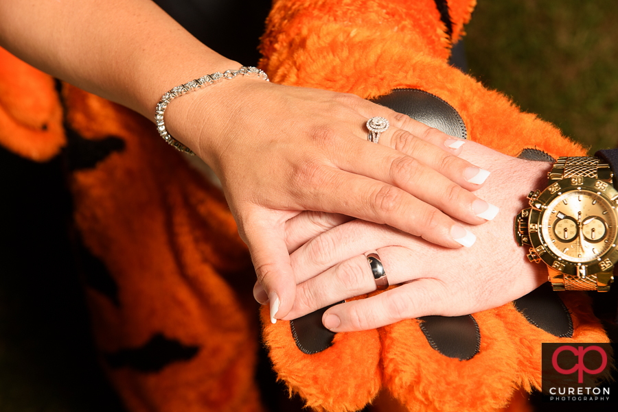 Bride and Groom and the Clemson Tiger.