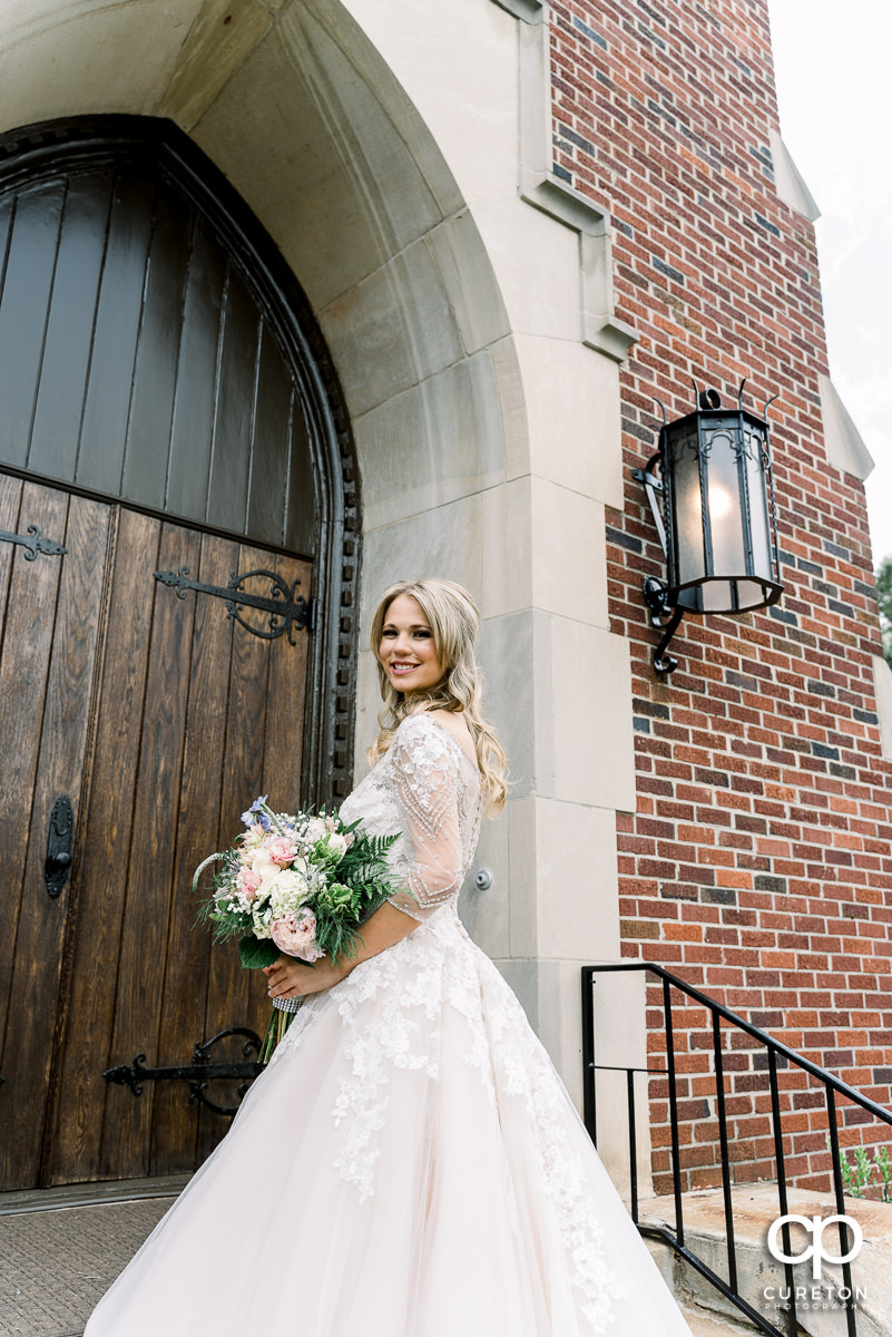 Bride in a gorgeous couture dress.