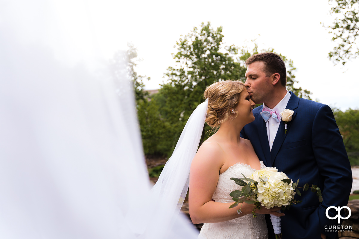 Groom kissing his bride's forehead as her veil blows in to the wind in Falls Park.