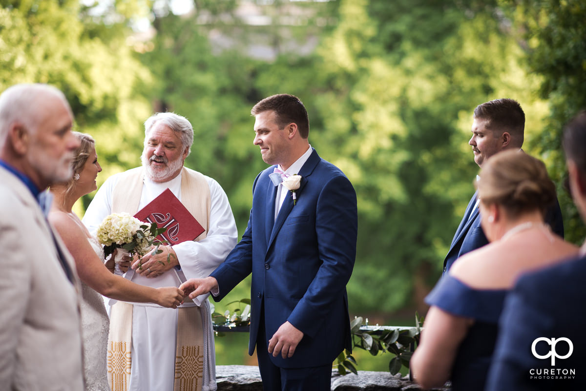Wedding ceremony at Mary's at Falls Cottage.