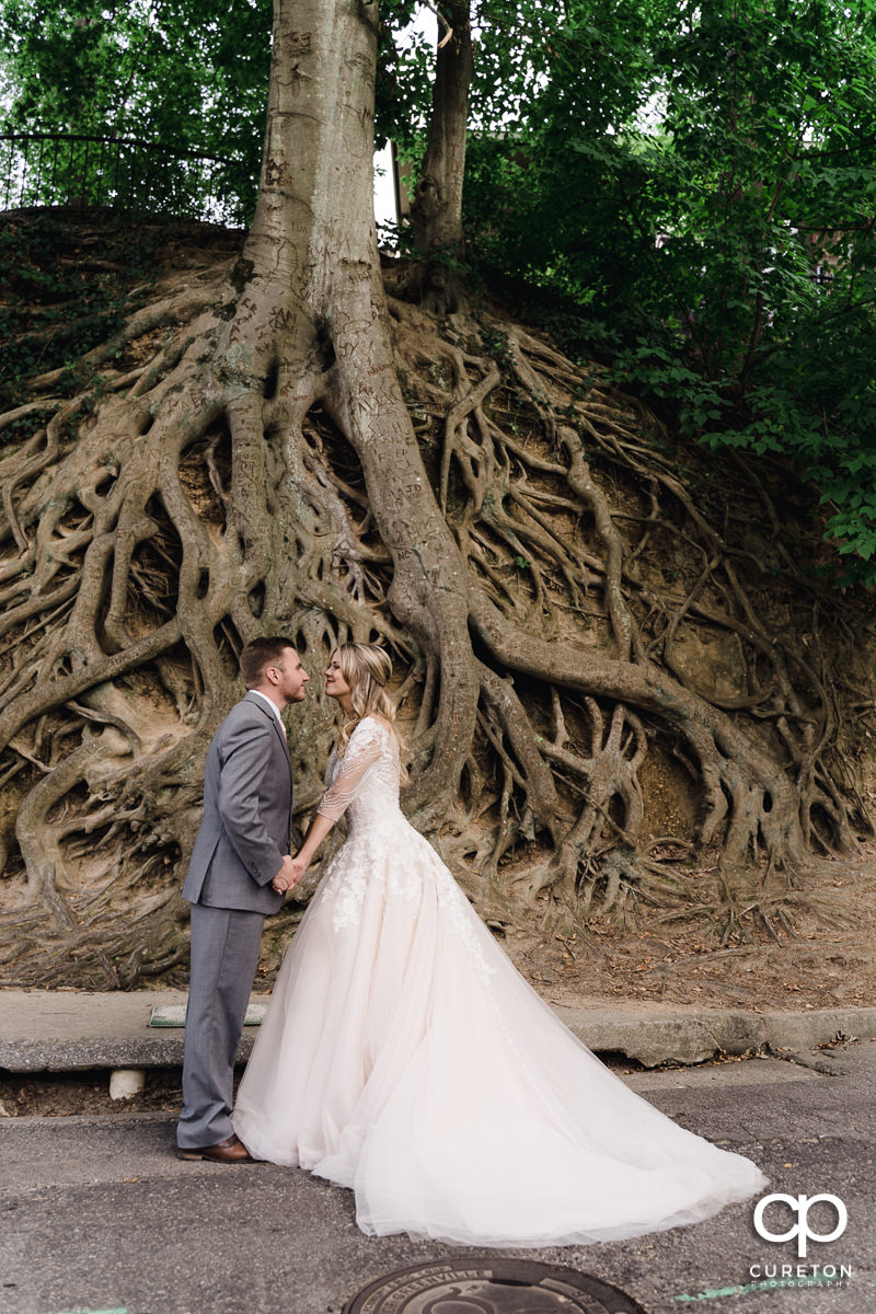 Bride and groom holding hands in front of tree roots in Falls Park in downtown Greenville,SC after their wedding ceremony.