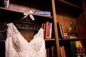 Bride's custom hangar for her dress.