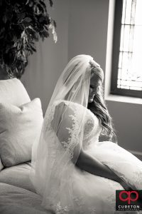 Bride at Mitchell Road Presbyterian church.