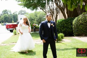 Bride and groom before their first look.