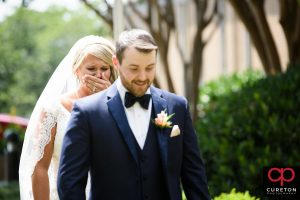 Bride gets emotional before their first look in Greenville.
