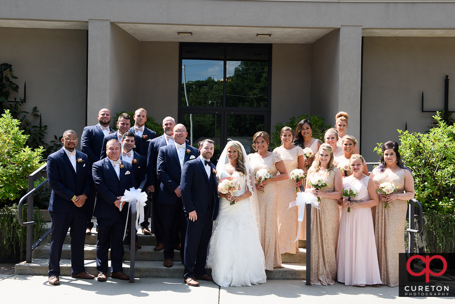 Wedding party in front of MItchell Road Presbyterian.