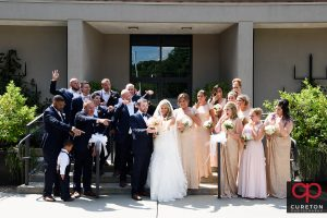 Wedding party in front of the church.