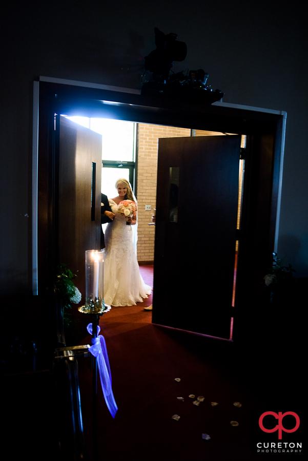 Bride walking down the aisle.