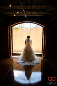 Bride in front of a window at Old Cigar Warehouse.