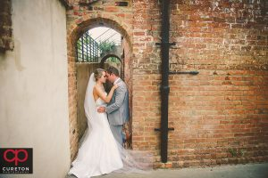 Bride and Groom outside the Old Cigar Warehouse in Greenville,SC.