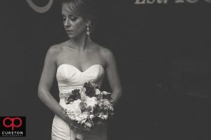 Black and white shot of a bride.