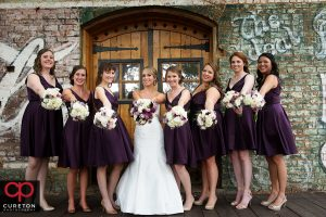 Bridesmaids on the deck at the Old Cigar Warehouse.