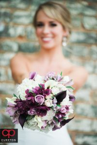 Bride with her bouquet.