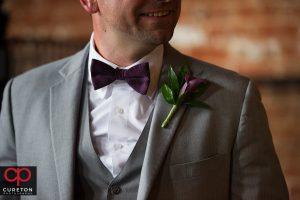 Close-up of groom's tie.