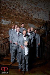 Groomsmen on the steps.